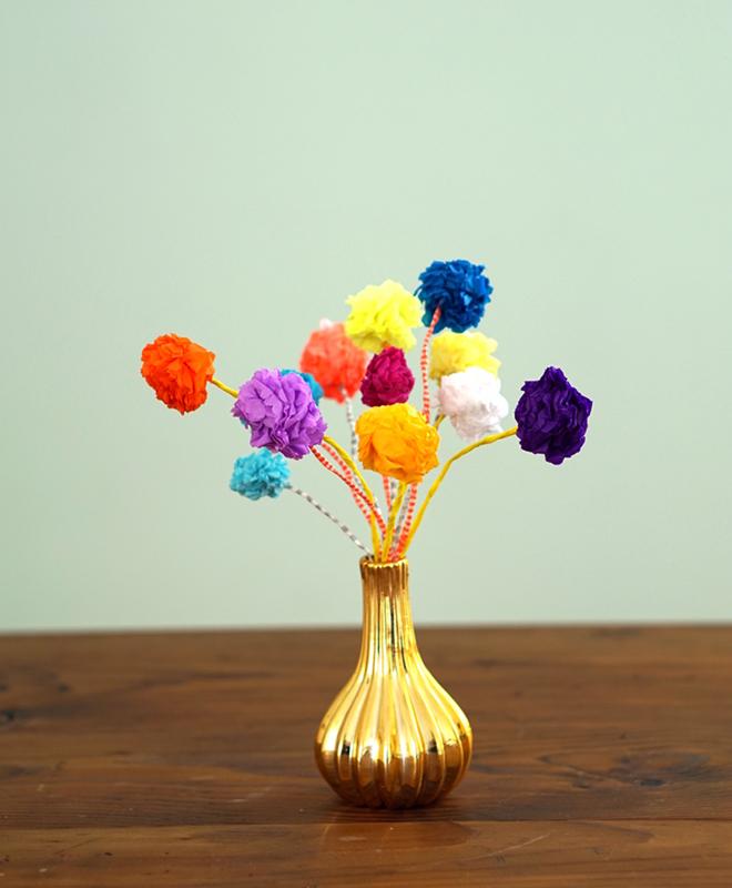 diy papierblumen aus mini pompoms - Einrichtung Winterlich